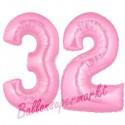 Luftballons aus Folie Zahl 32, Rosa, 100 cm mit Helium zum 32. Geburtstag
