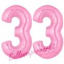 Luftballons aus Folie Zahl 33, Rosa, 100 cm mit Helium zum 33. Geburtstag