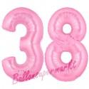 Luftballons aus Folie Zahl 38, Rosa, 100 cm mit Helium zum 38. Geburtstag