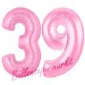 Luftballons aus Folie Zahl 39, Rosa, 100 cm mit Helium zum 39. Geburtstag