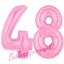 Luftballons aus Folie Zahl 48 Rosa, 100 cm mit Helium zum 48. Geburtstag