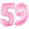 Luftballons aus Folie Zahl 59, Rosa, 100 cm mit Helium zum 59. Geburtstag