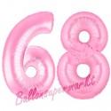 Luftballons aus Folie Zahl 68, Rosa, 100 cm mit Helium zum 68. Geburtstag