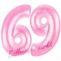 Luftballons aus Folie Zahl 69, Rosa, 100 cm mit Helium zum 69. Geburtstag