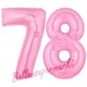 Luftballons aus Folie Zahl 78, Rosa, 100 cm mit Helium zum 78. Geburtstag