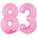 Luftballons aus Folie Zahl 83, Rosa, 100 cm mit Helium zum 83. Geburtstag