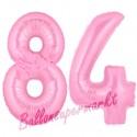 Luftballons aus Folie Zahl 84, Rosa, 100 cm mit Helium zum 84. Geburtstag