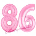 Luftballons aus Folie Zahl 86, Rosa, 100 cm mit Helium zum 86. Geburtstag