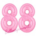 Luftballons aus Folie Zahl 88, Rosa, 100 cm mit Helium zum 88. Geburtstag