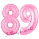 Luftballons aus Folie Zahl 89, Rosa, 100 cm mit Helium zum 89. Geburtstag
