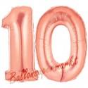 Luftballons aus Folie Zahl 10, Rosegold, 100 cm mit Helium zum 10. Geburtstag