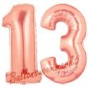 Luftballons aus Folie Zahl 13, Rosegold, 100 cm mit Helium zum 13. Geburtstag