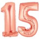 Luftballons aus Folie Zahl 15, Rosegold, 100 cm mit Helium zum 15. Geburtstag