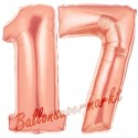 Luftballons aus Folie Zahl 17, Rosegold, 100 cm mit Helium zum 17. Geburtstag