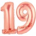 Luftballons aus Folie Zahl 19, Rosegold, 100 cm mit Helium zum 19. Geburtstag