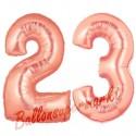 Luftballons aus Folie Zahl 23, Rosegold, 100 cm mit Helium zum 23. Geburtstag