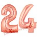 Luftballons aus Folie Zahl 24, Rosegold, 100 cm mit Helium zum 24. Geburtstag