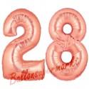 Luftballons aus Folie Zahl 28, Rosegold, 100 cm mit Helium zum 28. Geburtstag
