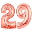 Luftballons aus Folie Zahl 29, Rosegold, 100 cm mit Helium zum 29. Geburtstag