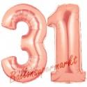 Luftballons aus Folie Zahl 31, Rosegold, 100 cm mit Helium zum 31. Geburtstag