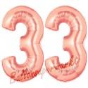 Luftballons aus Folie Zahl 33, Rosegold, 100 cm mit Helium zum 33. Geburtstag