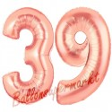Luftballons aus Folie Zahl 39 Rosegold, 100 cm mit Helium zum 39. Geburtstag