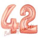Luftballons aus Folie Zahl 42 Rosegold, 100 cm mit Helium zum 42. Geburtstag