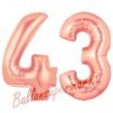 Luftballons aus Folie Zahl 43 Rosegold, 100 cm mit Helium zum 43. Geburtstag