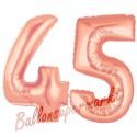 Luftballons aus Folie Zahl 45 Rosegold, 100 cm mit Helium zum 45. Geburtstag