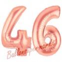 Luftballons aus Folie Zahl 46 Rosegold, 100 cm mit Helium zum 46. Geburtstag