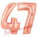 Luftballons aus Folie Zahl 47 Rosegold, 100 cm mit Helium zum 47. Geburtstag