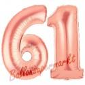 Luftballons aus Folie Zahl 61 Rosegold, 100 cm mit Helium zum 61. Geburtstag