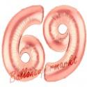 Luftballons aus Folie Zahl 69 Rosegold, 100 cm mit Helium zum 69. Geburtstag