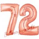 Luftballons aus Folie Zahl 72 Rosegold, 100 cm mit Helium zum 72. Geburtstag