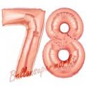 Luftballons aus Folie Zahl 78, Rosegold, 100 cm mit Helium zum 78. Geburtstag