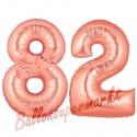 Luftballons aus Folie Zahl 82, Rosegold, 100 cm mit Helium zum 82. Geburtstag