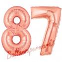 Luftballons aus Folie Zahl 87, Rosegold, 100 cm mit Helium zum 87. Geburtstag