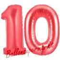 Luftballons aus Folie Zahl 10, Rot, 100 cm mit Helium zum 10. Geburtstag