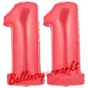 Luftballons aus Folie Zahl 11, Rot, 100 cm mit Helium zum 11. Geburtstag
