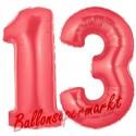 Luftballons aus Folie Zahl 13, Rot, 100 cm mit Helium zum 13. Geburtstag
