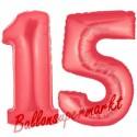 Luftballons aus Folie Zahl 15, Rot, 100 cm mit Helium zum 15. Geburtstag
