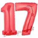 Luftballons aus Folie Zahl 17, Rot, 100 cm mit Helium zum 17. Geburtstag