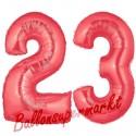 Luftballons aus Folie Zahl 23, Rot, 100 cm mit Helium zum 23. Geburtstag
