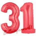 Luftballons aus Folie Zahl 31, Rot, 100 cm mit Helium zum 31. Geburtstag