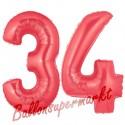 Luftballons aus Folie Zahl 34, Rot, 100 cm mit Helium zum 34. Geburtstag