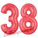 Luftballons aus Folie Zahl 38, Rot, 100 cm mit Helium zum 38. Geburtstag