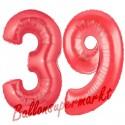 Luftballons aus Folie Zahl 39, Rot, 100 cm mit Helium zum 39. Geburtstag