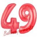 Luftballons aus Folie Zahl 49, Rot, 100 cm mit Helium zum 49. Geburtstag