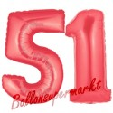 Luftballons aus Folie Zahl 51,Rot, 100 cm mit Helium zum 51. Geburtstag
