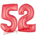 Luftballons aus Folie Zahl 52, Rot, 100 cm mit Helium zum 52. Geburtstag